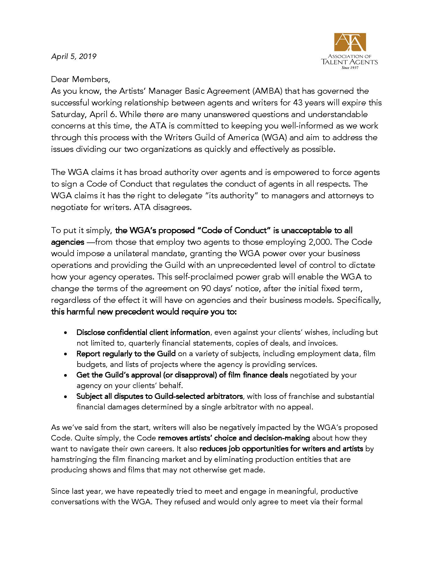 Association of Talent Agents - 2019 ARTISTS' MANAGER BASIC AGREEMENT